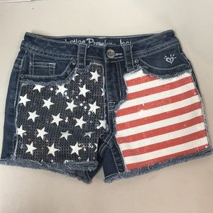 Justice American flag sequin shorts